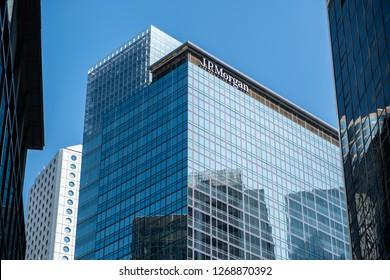 Hong Kong, December 28, 2018: J.P. Morgan in Hong Kong. An American investment bank and financial services company.