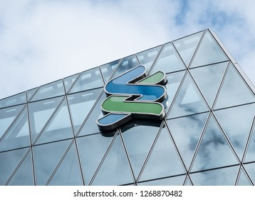 Hong Kong, December 28, 2018: Standard Chartered in Hong Kong. Standard Chartered is a British company that operates more than 1,200 branches and outlets in more than 70 countries worldwide.