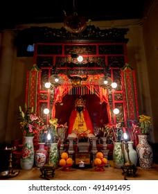 HONG KONG - DECEMBER 3, 2015: Chinese Gods Man Tai Man Cheong in Man Mo Temple or Man Mo Miu Hong Kong