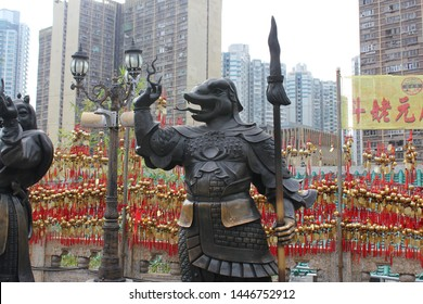 HONG KONG -December 7, 2018 ; snake statue of a Wong Tai Sin temple in Hong Kong.