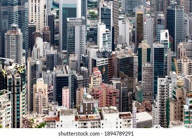 Hong Kong - December10,  2019 : Crowded of Hong Kong Skyscraper Buildings located at Central Part of Hong Kong Island