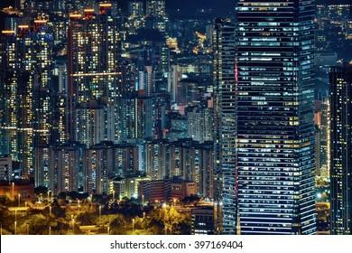 Hong Kong dense buildings at night