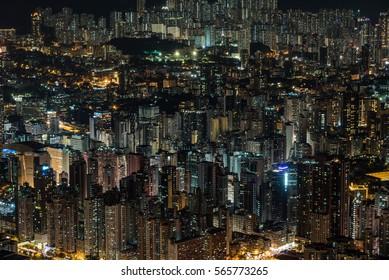 Hong Kong dense high-rise buildings at night