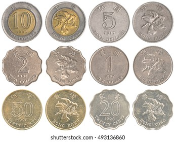 Hong Kong Dollar coins collection set  isolated on white background