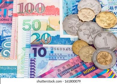 Hong Kong dollar money banknote close-up with coins
