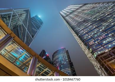 Hong Kong downtown and business center, Skycraper buildings.