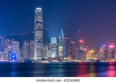 Hong kong downtown the famous cityscape view of Hong Kong skyline during twilight time from Kowloon side at Hong Kong.