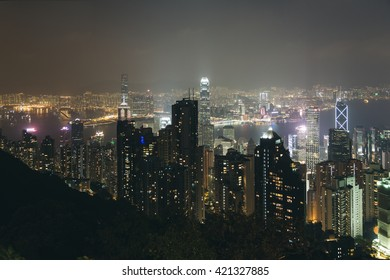 Hong Kong Downtown and Kowloon from Victoria Peak at Night