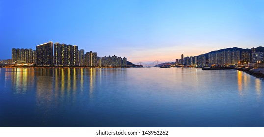 Hong Kong downtown sunset