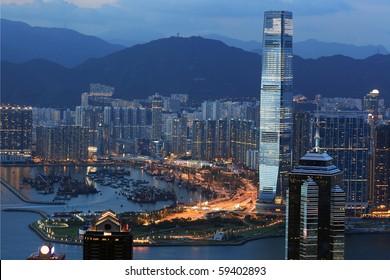 Hong Kong at dusk, beautiful scenery