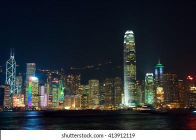 Hong Kong famous night view of Victoria harbor