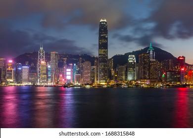 HONG KONG - FEB 16 2019: Hong Kong night view along Victoria Harbor.