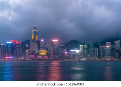 HONG KONG - Feb 20 2019 : Scene of the Victoria Harbour in Hong Kong. Victoria Harbour is the famous attraction place for tourist to visit