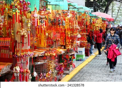 Hong kong - FEB 28, 2012: Chinese New Year ornaments are displayed in a local market, ahead of the Chinese New Year and spring festival celebrations.