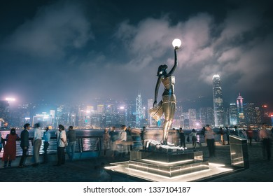 Hong Kong - Feb 28, 2019 : Night view of Avenue of Stars in Hong Kong Tsim Shai Tsui waterfront which redesign in 2018 and re-opened in 2019.