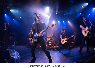 HONG KONG - February 08, 2017: American pop punk band Yellowcard show, Vocalist Ryan Key performed with other members on stage