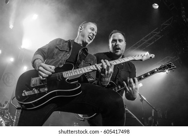 HONG KONG - February 08, 2017: American pop punk band Yellowcard show, Vocalist Ryan Key performed with Guitarist Ryan Mendez on stage