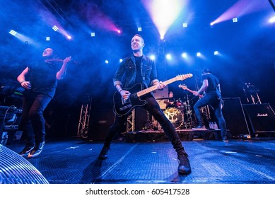 HONG KONG - February 08, 2017: American pop punk band Yellowcard show, Vocalist Ryan Key performed on stage