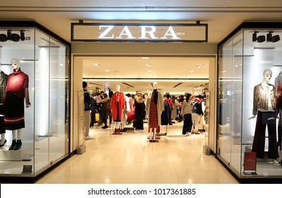 HONG KONG - FEBRUARY 1, 2018: Zara store in Hong Kong. Zara is a Spanish clothing and accessories retailer based in Arteixo, Galicia.