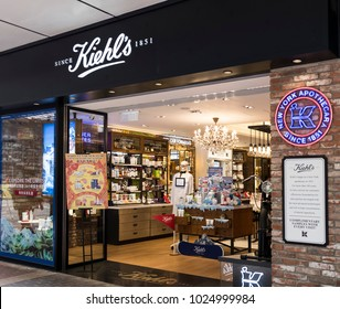 Hong Kong - February 11, 2018: Kiehl's store in Hong Kong. Kiehl's is an American cosmetics brand retailer that specializes in premium skin, hair, and body care products.