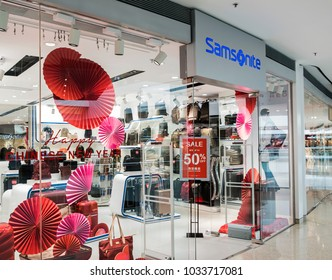 Hong Kong, February 15, 2018: Samsonite store in Hong Kong. Samsonite is an American luggage manufacturer and retailer founded in Denver.