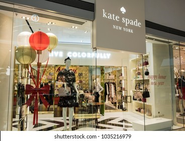 Hong Kong, February 15, 2018: Kate Spade store in Hong Kong. Kate Spade New York is an American fashion design house.