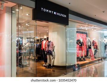 Hong Kong, February 15, 2018: Tommy Hilfiger store in Hong Kong. Tommy Hilfiger is a global apparel and retail company founded in 1985. It offers high end products to consumers over 90 countries.