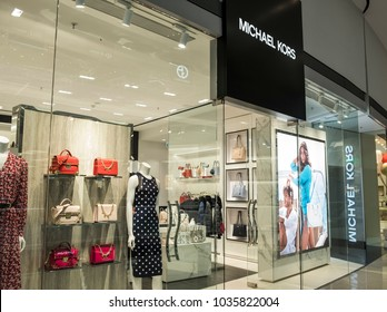 Hong Kong, February 15, 2018: Michael Kors store in Hong Kong. Michael Kors is a luxury handbag and accessories designer, widely known for designing classic American sportswear for women.