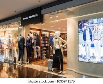 Hong Kong, February 15, 2018: Brook Brothers shop in Hong Kong. Brooks Brothers is one of oldest clothes store chains in the USA, founded in year 1818.