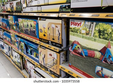Hong Kong, February 15, 2018:  Shelves with toys in the store. Range of children's products in the supermarket.