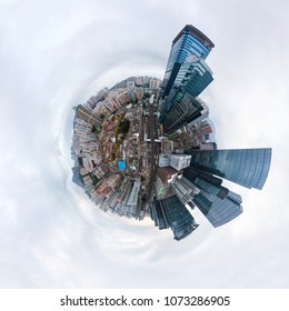 HONG KONG - FEBRUARY 19, 2018: Little planet 360 degree sphere aerial shot. Panoramic view of the Kwun Tong District in Hong Kong. Editorial Use Only.