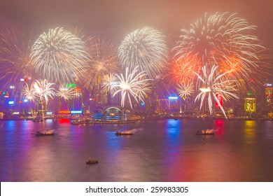 HONG KONG - FEBRUARY 20, Hong Kong Chinese New Year Fireworks at Victoria Harbour, Hong Kong on 20 February, 2015. It is the celebration of year of ram and lasts for 20 minutes.