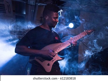 HONG KONG - February 21, 2017: American instrumental progressive metal band Animal as leaders show, Guitarist Tosin Abasi performed on stage