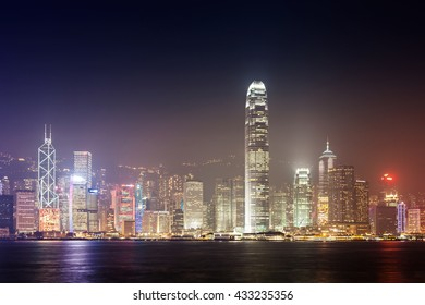 HONG KONG - FEBRUARY 21: Victoria Harbor in Hong Kong on February, 21, 2013. The Victoria Harbour is world-famous for its stunning panoramic night view and skyline.