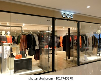 HONG KONG - FEBRUARY 4, 2018:  A COS store in Hong Kong. COS (Collection of Style) is the upscale brand of Swedish retailer H&M.