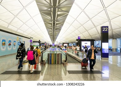 HONG KONG, February 9, 2019:  The Hong Kong International Airport terminals are connected with walkalators to ease passengers mobility.