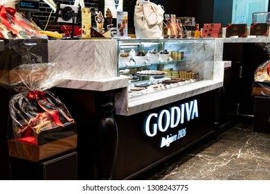 HONG KONG, February 9, 2019: Godiva was founded in 1926 in Brussels, Belgium, by the Draps family. Godiva have 23 retail stores in Hong Kong.