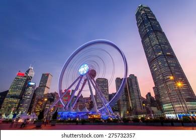 The Hong Kong Ferris Wheel in sunset.