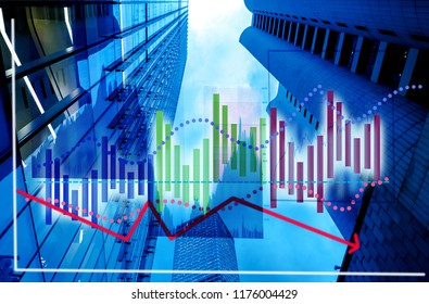 Hong Kong financial buildings with graph index of stock Market