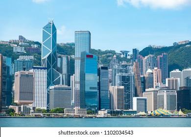 Hong Kong financial district skyline
