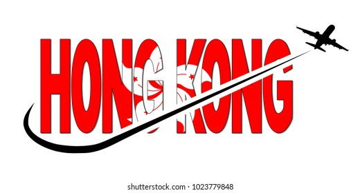 Hong Kong flag text with plane silhouette and swoosh illustration