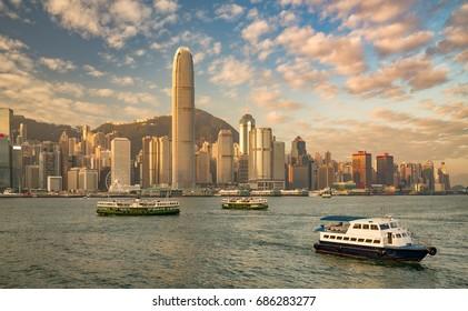Hong Kong harbor in the glow of sunrise