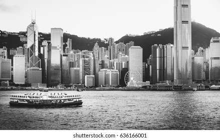 Hong Kong Harbor View with Black and white color