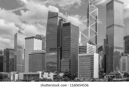 hong kong harbour view with B&W color