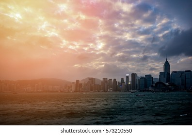 hong kong harbour view with sunlight