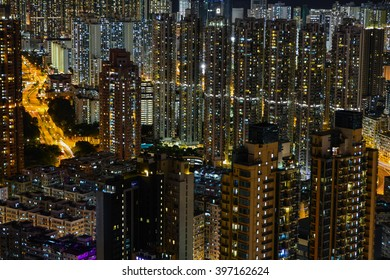 Hong Kong high-rise buildings night scape