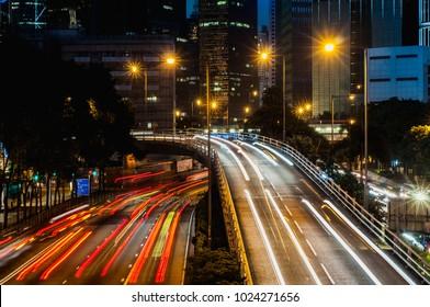 Hong Kong highway trafic long exposure