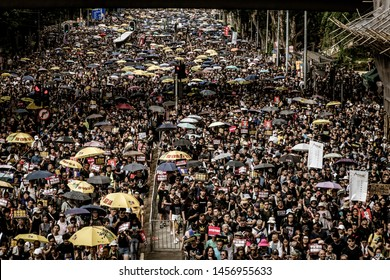 Hong Kong / HK - July 21 2019: Extradition law protest