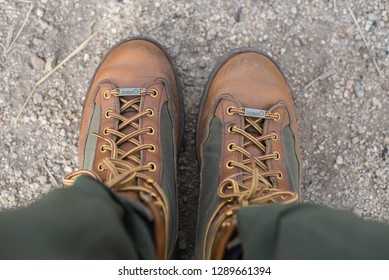 Hong Kong, Hongkong - January 19 2019: Danner Light Leather Hiking Boots with Gore-Tex lining, view from top view.