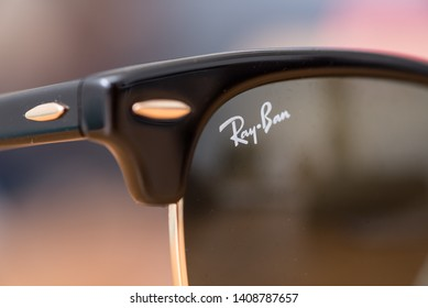 Hong Kong, Hongkong - May 15, 2019: Ray-Ban Black Clubmaster with Gold frame and classic G-15 Lens. Ray-Ban is a brand of sunglasses and eyeglasses founded in 1937 by American company Bausch & Lomb.